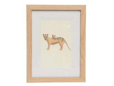 Art'N Green Whimsical Tasmanian Tiger Mum & Bub Art Print on handmade paper - Framed 4x6'' - Oak like color.