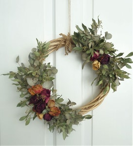 Bambole Designs WREATH- Dried Assorted ROSES and Eucalyptus, Door Wreath, Wall Wreath, All Year Wreath, Everlasting Flowers,