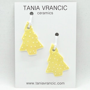 Porcelain Christmas Ornaments - 2 Dotty Small Trees - Yellow