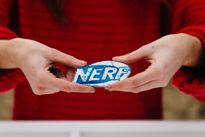 HOW TO MAKE A NERF FONDANT LOGO CAKE DECAL