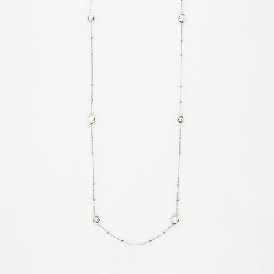 I Dream of Silver Pearl-Encased Bauble-Chain Necklace