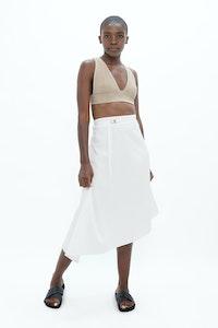 1 People Mallorca Organic Cotton Twill Asymmetric Skirt in White Dove
