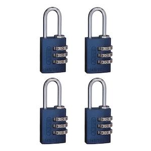 ABUS 145/20 3 Digit Resettable Combination Padlock 4 Pack -Blue