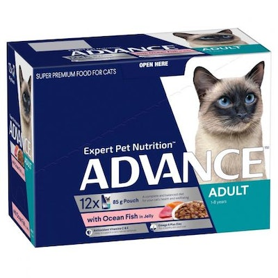 Advance Adult Ocean Fish In Jelly Wet Cat Food 12x85G