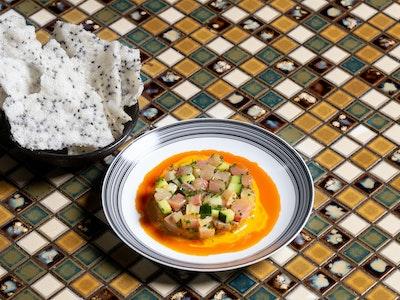 Kingfish Tartare, Canh Chua Dressing, Sesame Crackers