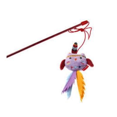 GIGWI Happy Indians Catwand Owl w/ Felt Teaser Cat Toy