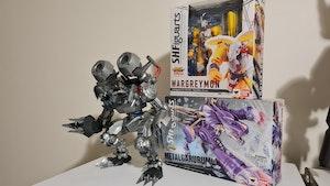 Digimon SH Figuarts Wargreymon, Metalgarurumon & Bandai Machinedramon