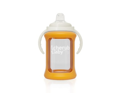 Wide Neck Glass Sippy Cup with Colour Change Sleeve 240ml - Orange