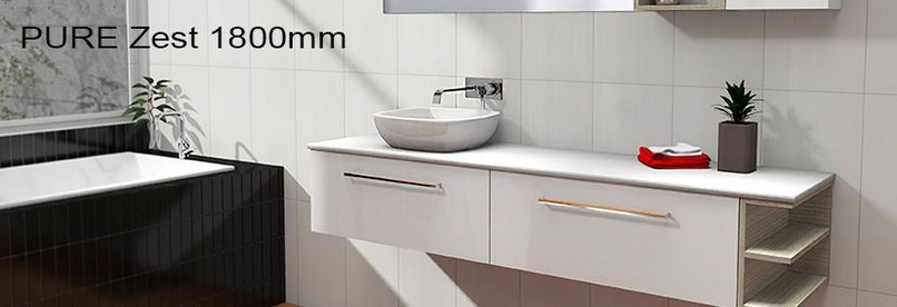 Timberline pure zest 1800mm wall hung vanity pre built for Bathroom cabinets 1800mm
