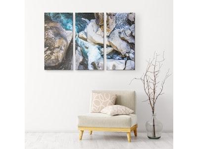 "Art Of A Kind Nature's Mountain Rocks - 3 Piece Canvas Set 54x36"" (18x36"" ea.)"