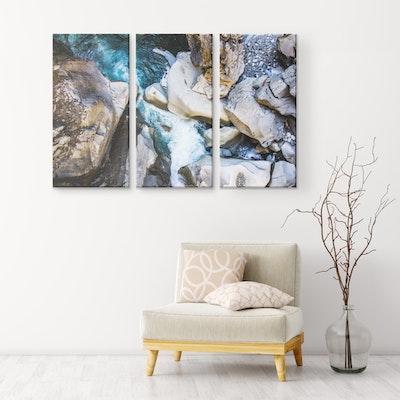 "Art Of A Kind Nature's Mountain Rocks - 3 Piece Canvas Set 36x24"" (12x24"" ea.)"