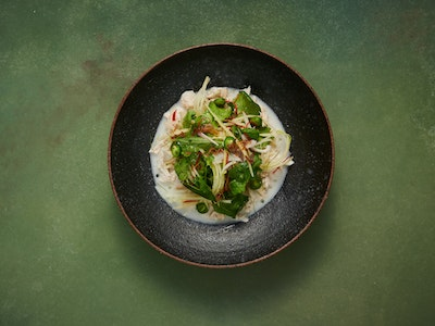 Coconut Poached Chicken, Vietnamese Mint, Pickled Green Chilli