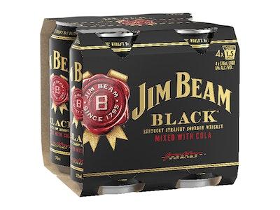 Jim Beam Black & Cola 5% Can 375mL 4 Pack