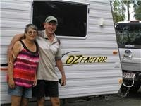 Olwyn and Les Kitchener Huntly free campers on route  home to Brisbane  They had been touring 6 months
