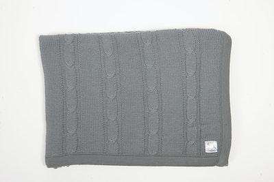 100% PURE Australian Merino Leroy Mac Designs Grey Cable Knit Blanket/Throw