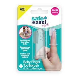 Safe + Sound Baby Finger Toothbrush & Gum Massager Clean Teeth 0-18 Months