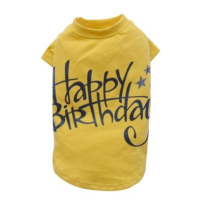 DoggyDolly SMALL DOG - Birthday Doggy Yellow T Shirt