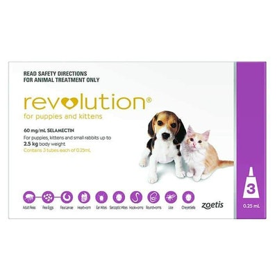 Revolution Pink Flea & Worming Treatment For Puppies & Kittens <2.5kg Dog 3 Pack