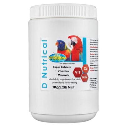 Vetafarm D'Nutrical Calcium Vitamins Mineral Supplement for Birds - 5 Sizes
