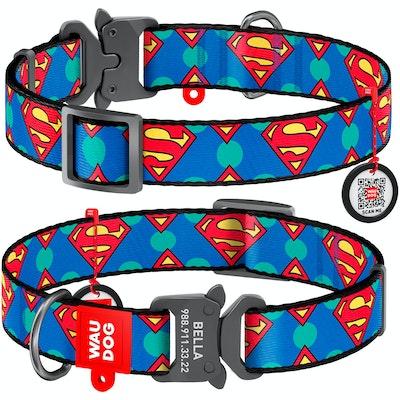 WauDog by the Collar Company WauDog Nylon Dog Collar -Superman Logo - Sizes: X-Small, Small, Medium, Large