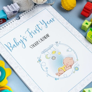 Baby Memory Book - Baby's First Year Sticker Calendar Cool Blue