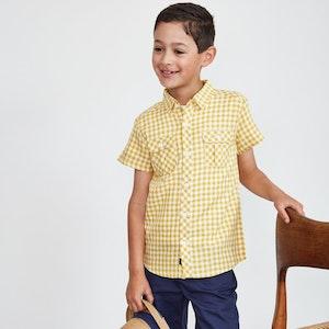 Yellow and White Gingham Shirt