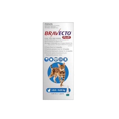 BRAVECTO Plus Flea, Tick & Worming Treatment 2.8-6.25kg Cat 2 Month Pack