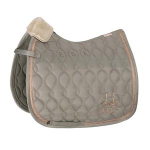 Eskadron Glossy Brand Saddle Pad - Ivory Grey