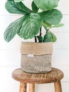 Pot Plant Cover - Crystal Leopard and Hessian Reversible
