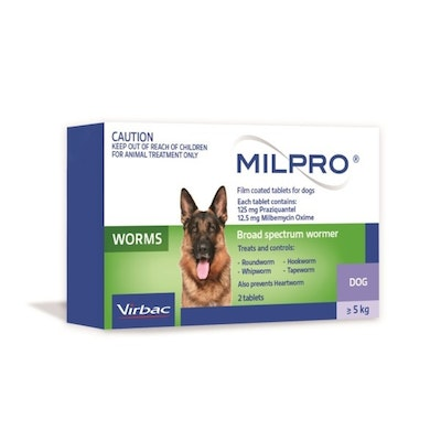 Virbac Milpro Broad Spectrum Wormer Tablets for Dogs 5-25kg Green 2 Pack