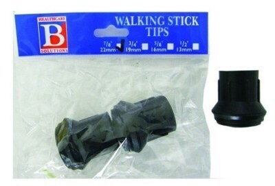 "Bemed Walking Stick Tips Black 7/8"" 22mm"