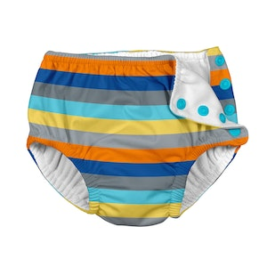 i play. Mix & Match Snap Reusable Absorbent Swimsuit Diaper-Gray Multistripe