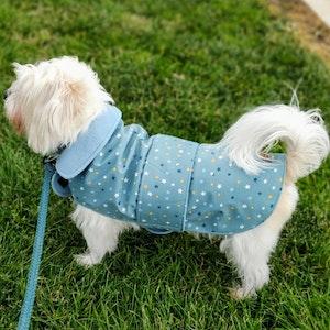 Queenie's Pawprints Warm Weatherproof Dog Coat - Starry Night