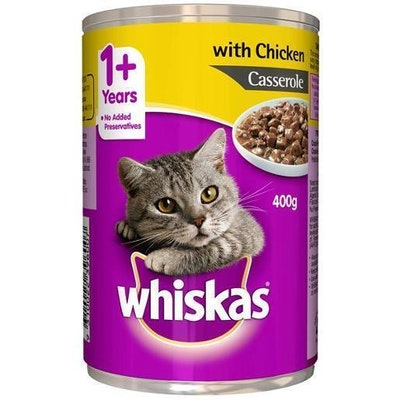 Whiskas Adult Cat Food Chicken and Veal in Loaf 400g x 24