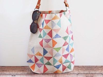 Printed linen tote bag - Multi print
