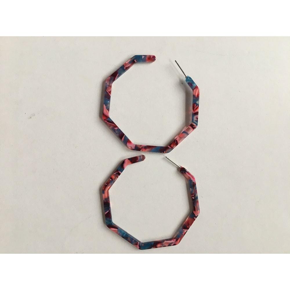 One of a Kind Club Pinks Resin Geometric Hoop Earrings