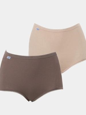 Maxi Full Brief 2 Pack - Beige/Brown