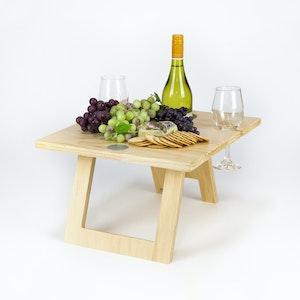 FOLDING WINE TABLE - 2 Glass Pine