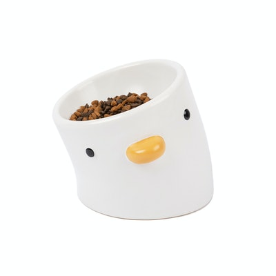 PURROOM Elevated Chick Ceramic Pet Bowl (Tilted)