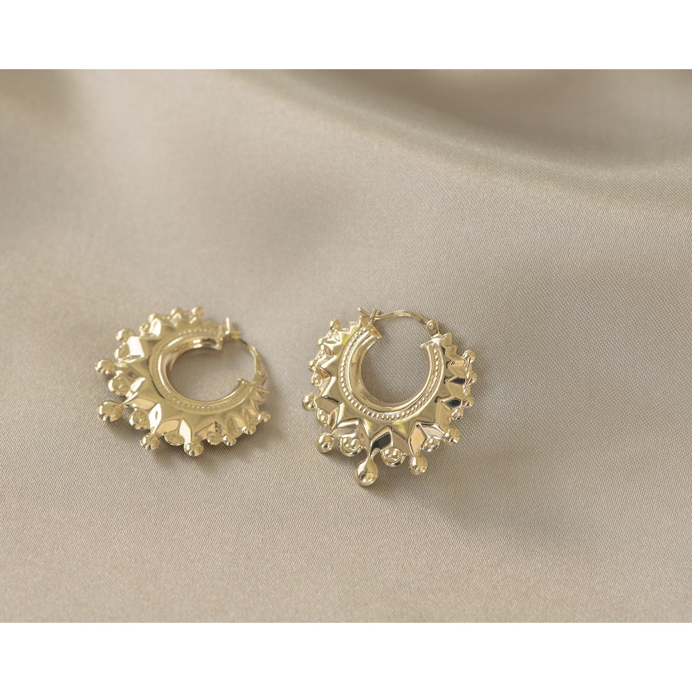 Jessica Alice Jewellery 9ct Solid Gold Romany Kreol Hoops