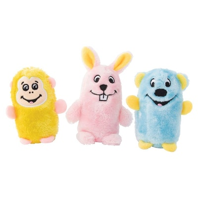 Zippy Paws Squeakie Buddies Bear Bunny & Monkey Plush Dog Toy 3 Pack