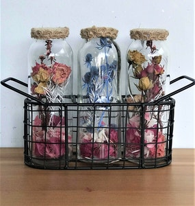 Bambole Designs Decorative Flowers in 3 Bottles & Holder, Rustic, Boho Australian made, Home décor 2021