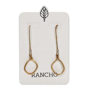 Raised Oval Long Straight Hook Earring
