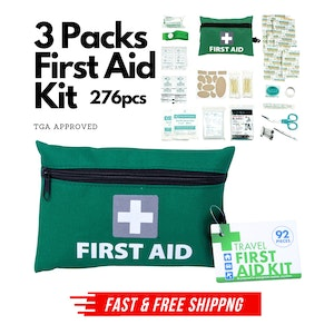 3 Packs Travel First Aid Kit Bag 276pcs Medical Workplace Survival Set Home Car Family Emergency Treatment Rescue