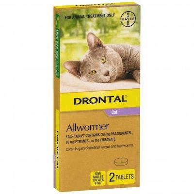 Drontal Ellipsoid Allwormer 4kg Cat 2 Pack