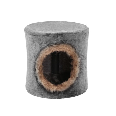 Charlie's Cat Tree House with Faux Fur Hole - Grey/Brown