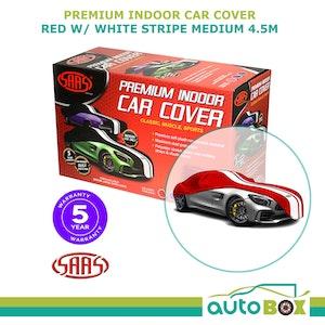 SAAS Premium Indoor Classic Car Cover Medium 4.5M Red with White Stripe
