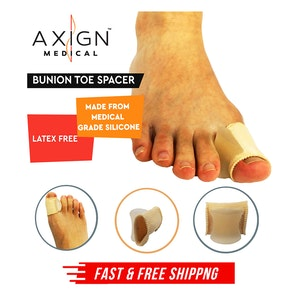 1 Pair Axign Medical Silicone Bunion Toe Spacer w Fit Sleeve Joint Pain Support