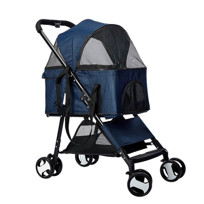 House of Pets Delight Large Travel Foldable Pushchair Pet Stroller 3 in 1 -  Blue