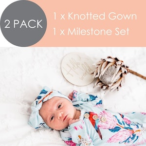 Marli & Me™ Knotted Gown + Wooden Milestone Disc Set | BUNDLE